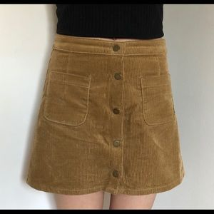 Camel corduroy A-line skirt with pockets size 7
